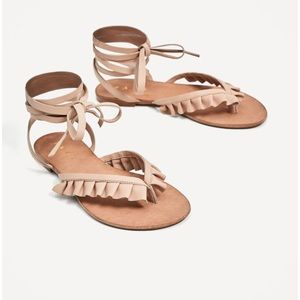 Zara nude leather flats lace up sandals frills